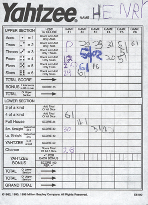 Elroy Flakes: The Yahtzee Score Cards Are